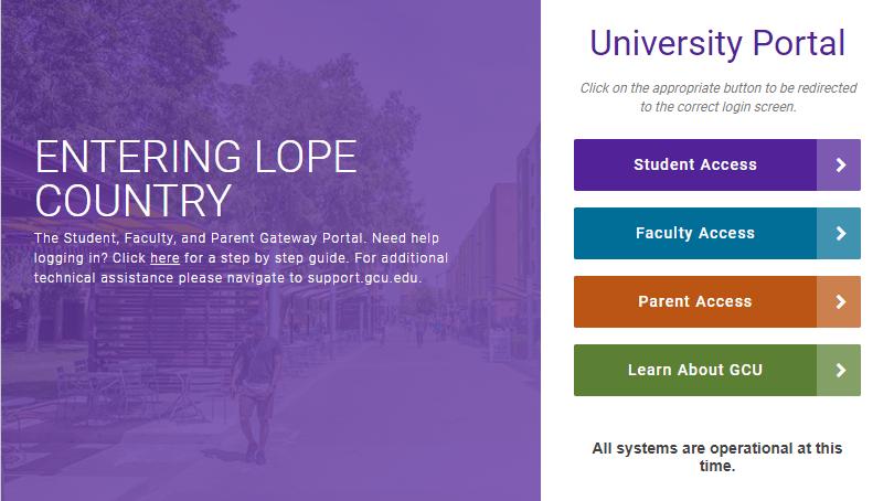 gcu student portal login